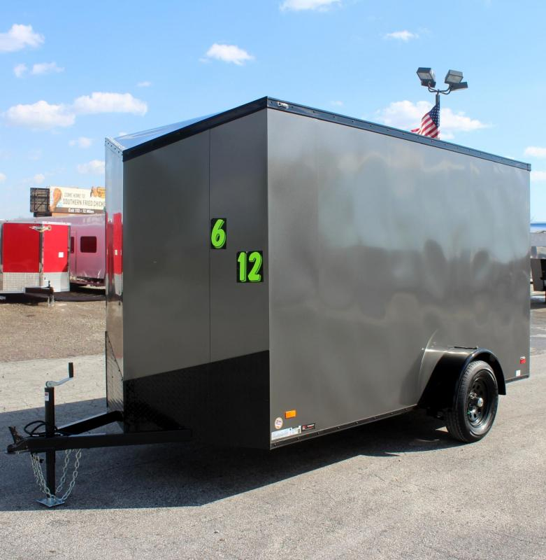 <b> Ready For Your Toys! NEW BLACK-OUT PKG</b> 2020 6'x12' Scout Silver Enclosed Cargo Trailer 6