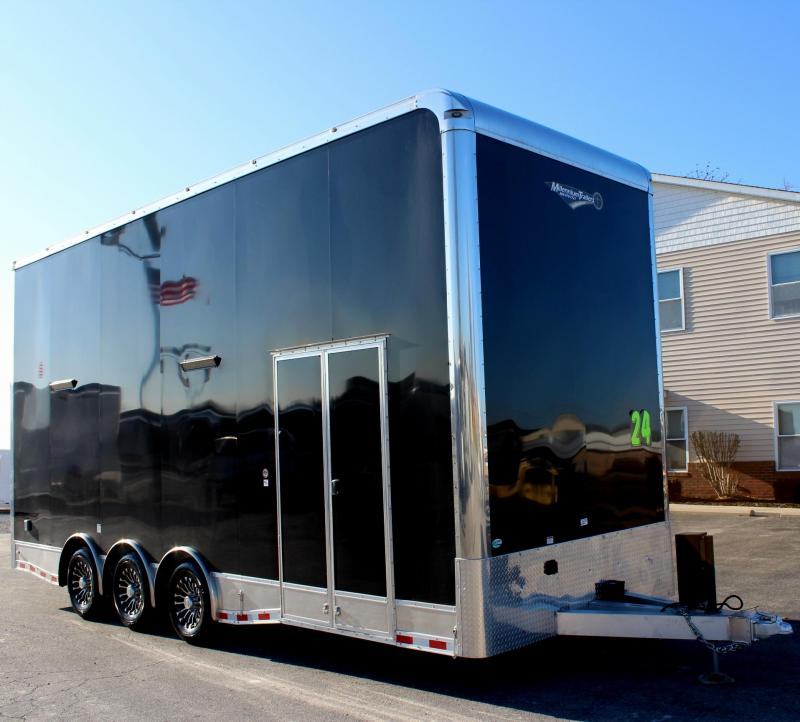 <b> YEAR-END BLOWOUT SAVE $5000 OFF MSRP NOW $44999</b> 2019 24' Aluminum Millennium Stacker Enclosed Car Trailer w/ 14' Titan Lift w/Solid Center/Black Cabinets