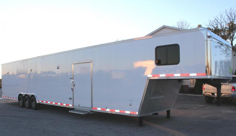 <b>NOW READY</b> 2019 48' Millennium Platinum Enclosed Gooseneck Trailer Perfect Price/Perfect Options w/Full Large Bathroom