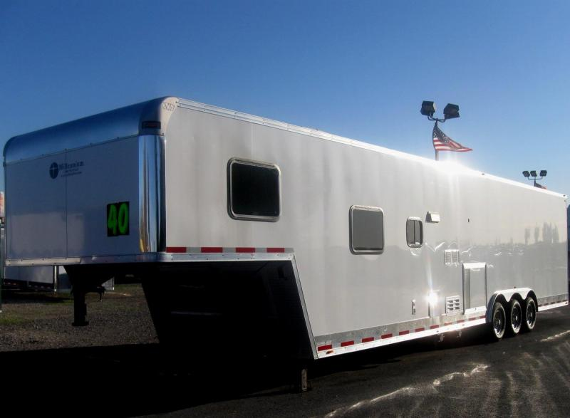 <b>SALE PENDING ONLY $36995 Save $4919 Off MSRP</b>  USED 2015 40' Millennium Silver 12'XE Living Quarter Trailer SUPER CLEAN 2-A/C's