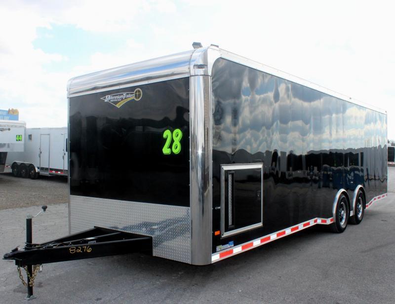 <b>NOW READY</b> 2019 28' Millennium Thunderbolt Race Car Trailer Matching Black Cabinets/Alum Wheels/Spread 6K Axles