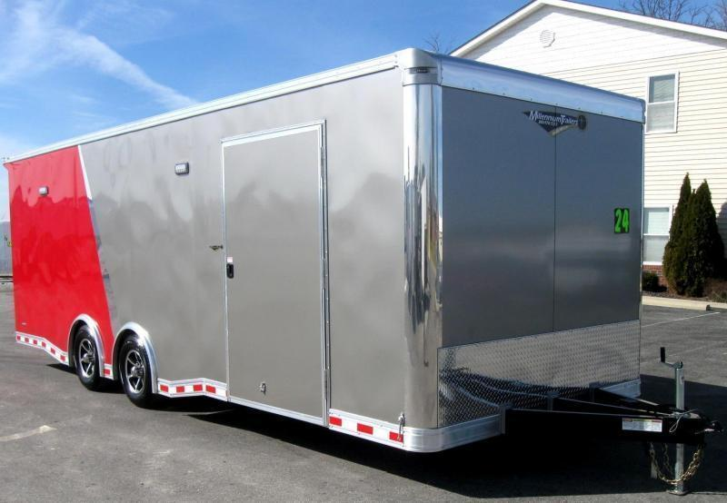 <b>Available 8/10</b> 2019 2-Tone 24' NEW Millennium Extreme Race Trailer w/Spread Axle & Wing