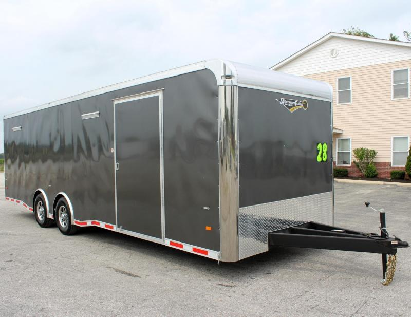 <b>NOW READY</b> 2019 28' Millennium Thunderbolt Enclosed Race Car Trailer Check Out Savings Matching Charcoal Cabinets/Alum Wheels/Spread 6K Axles