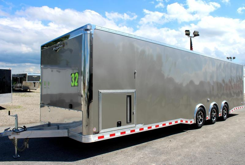<b>Internet Special Save $4326 OFF MSRP NOW $28999</b> 2019 ALL ALUM 32' Millennium Extreme Enclosed Car Trailer Red Cabinets & Wing