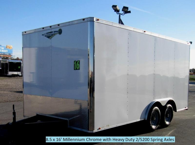 <b>BLACK FRIDAY ONLY $5999 Save $1800 Off MSRP</b>  2017 8.5x16 Millennium Chrome Enclosed Trailer