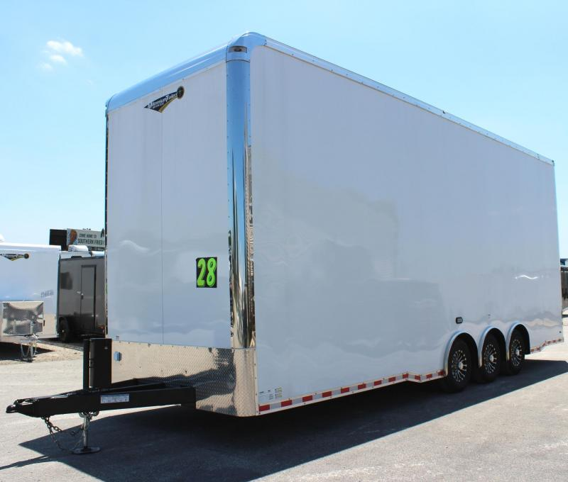 <b>Now Available</b> 28' Stacker Race Car Trailer 3/7k Tri Spread Axles 14' Full Floor Car Lift