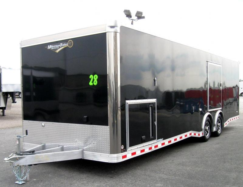 2018 ALL ALUMINUM 28' NEW Millennium Extreme Race Trailer w/Red Cabinets & Wing