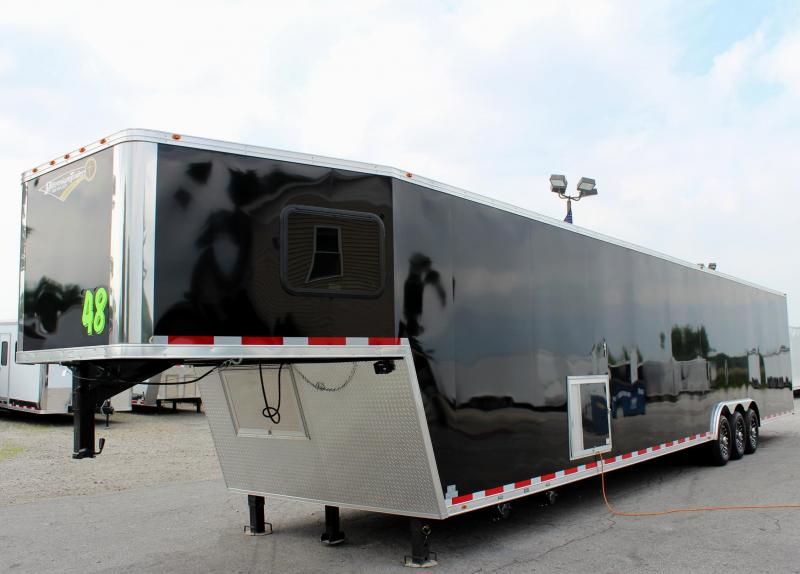 <b>Blowout Sale</b> Large Bathroom Option 2019 48 Millennium Platinum GN  Tapered Nose Race Trailer LOADED