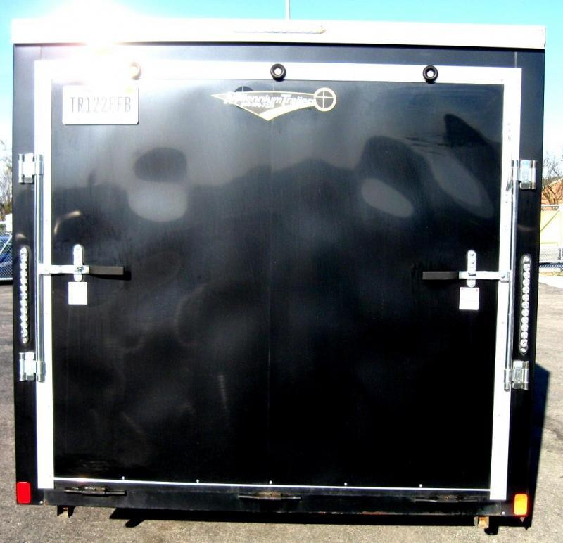 "USED 2016 Scout Enclosed Cargo Trailer Screwless Exterior w/30"" V-nose Front & 2 Door Cabinet"