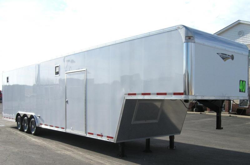 <b>NOW AVAILABLE</b> 2019 40' Millennium Silver Enclosed Gooseneck Race Trailer .040 Screwless Ext./Hydraulic Jack/Cabinets