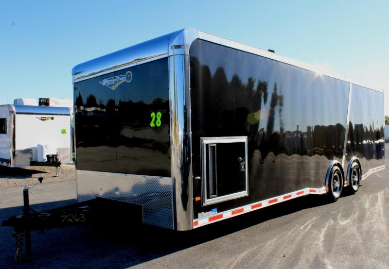 <b>NOW READY</b> 2019 28' Millennium Thunderbolt Enclosed Race Trailer Black Cabinets/ Black Cove /Alum Wheels/Spread 6K Axles