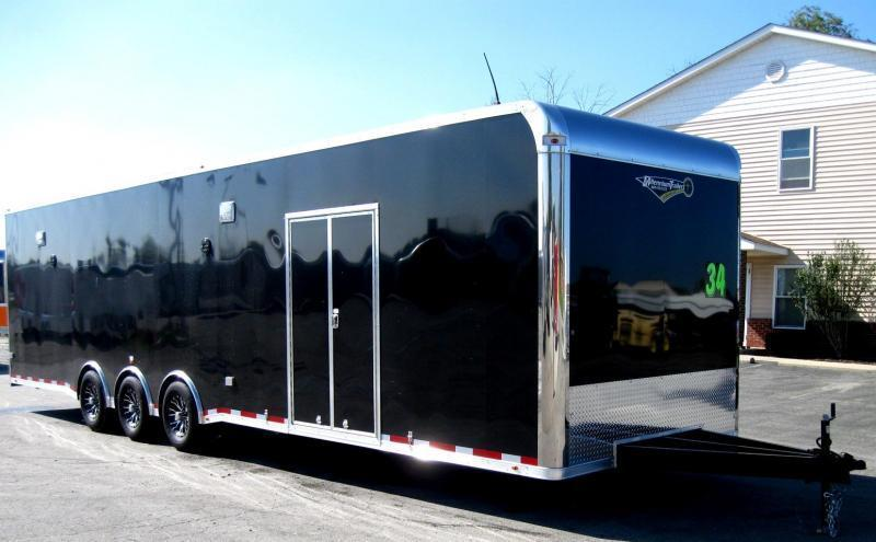 <b>Now Ready</b> 2019 34' Millennium Platinum Enclosed Race Car Trailer with Full Bathroom