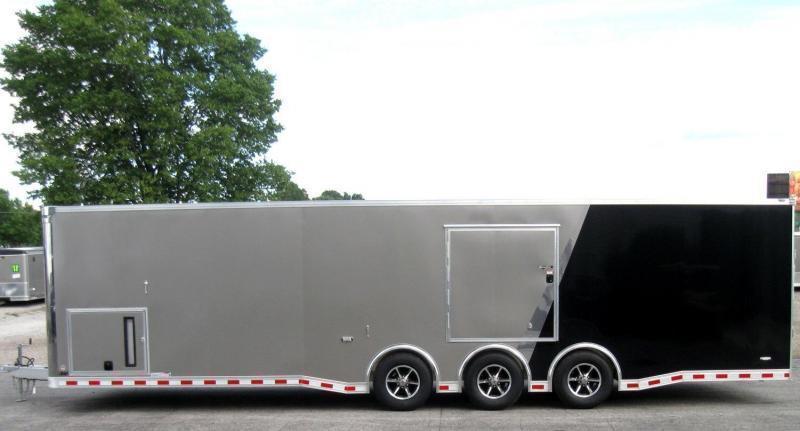 <b>Now Available</b> 2019 ALL ALUM 32' Millennium Extreme Race Car Enclosed Trailer Black Cabinets/Escape Door