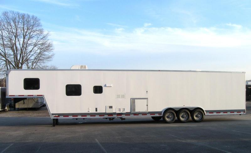 <b>TRAILER OF THE DAY #7  SAVE $6032 OFF MSRP NOW $42999</b>  2019 44' Millennium Silver Gooseneck w/12'XE+8' Living Quarter Trailer