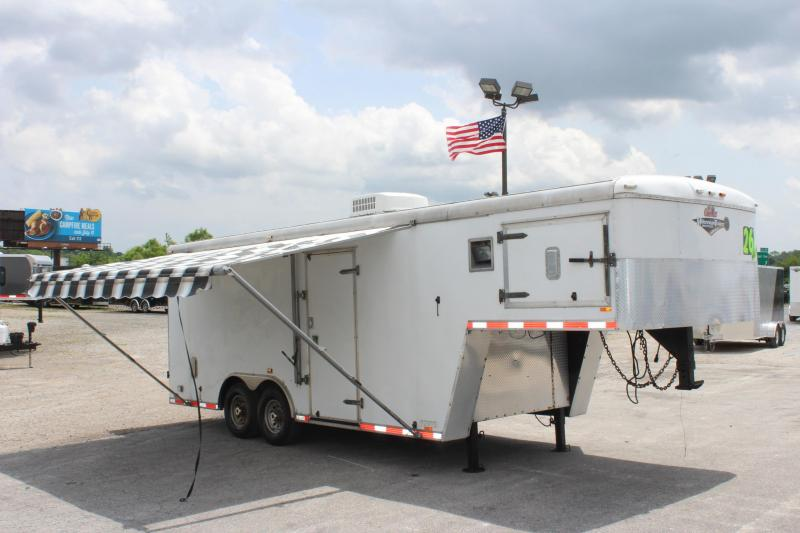 <b>PRE-OWNED Workshop Trailer Trade-In</b> 2011 26' Gooseneck Cargo Mate Awning A/C Shelving Storage Drawers