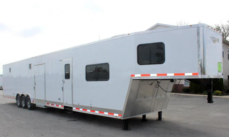 Dragster Pkg w/Tapered Nose 2020 48' Millennium Gooseneck  w/12'Sofa +8' Living Quarters w/King Size Bath