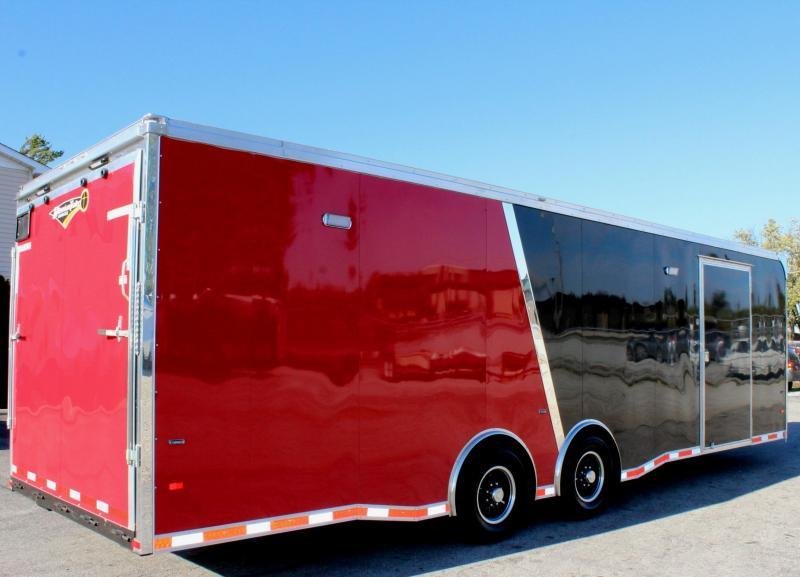 <b>NOW READY</b> 2019 28' Millennium Thunderbolt 2-Tone Black/Red with Red Cabinets/ Red Cove /Alum Wheels/Spread 6K Axles
