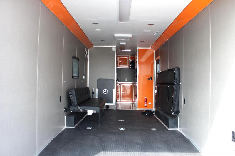 20189 28' Millennium Auto Master Toy Hauler Black w/Orange Cabinets & Tons of Options Added!