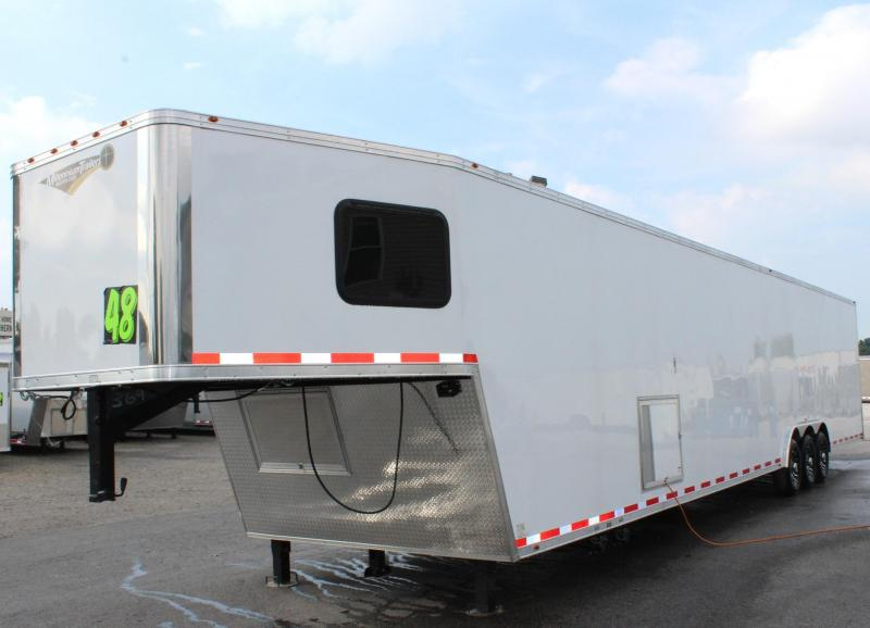<b>Large Bathroom Option</b> 2019 48' Millennium Platinum GN Race Trailer LOADED
