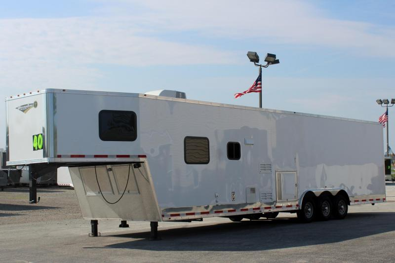 <b>Summer Savings</b> 2019 40' Millennium Silver Enclosed Gooseneck Race Car Trailer w/12'XE Living Quarters