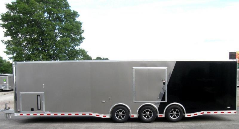 <b>TRAILER OF THE DAY #11  SAVE $4041 OFF MSRP NOW $28259</b>  2019 ALL ALUM 32' Millennium Extreme Race Car Enclosed Trailer Black Cabinets/Escape Door