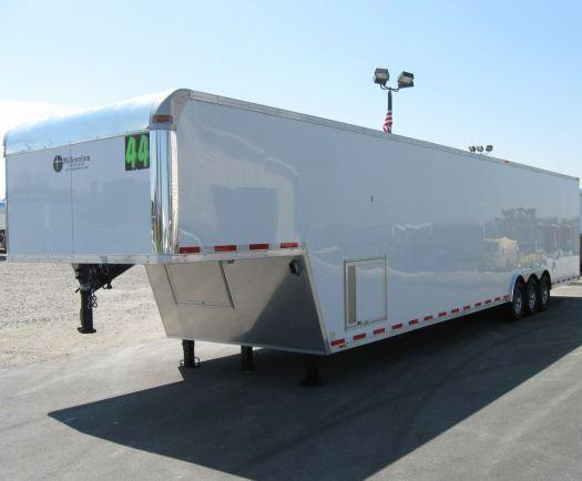 2019 44' Millennium Silver Enclosed Gooseneck Car Trailer Screwless Hydraulic Jack Plus More!