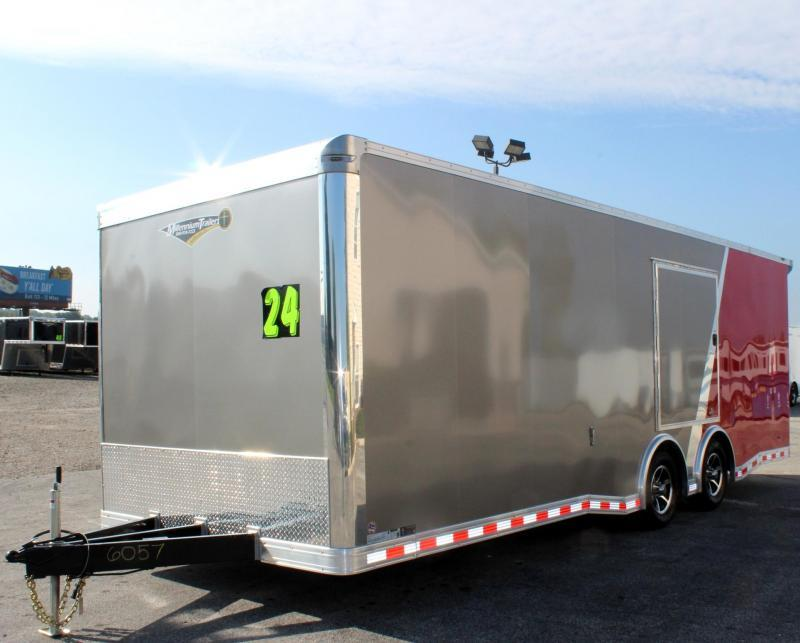 <b>Now Ready</b> 2019 2-Tone 24' Millennium Extreme Race Car Trailer w/Spread Axle & Wing