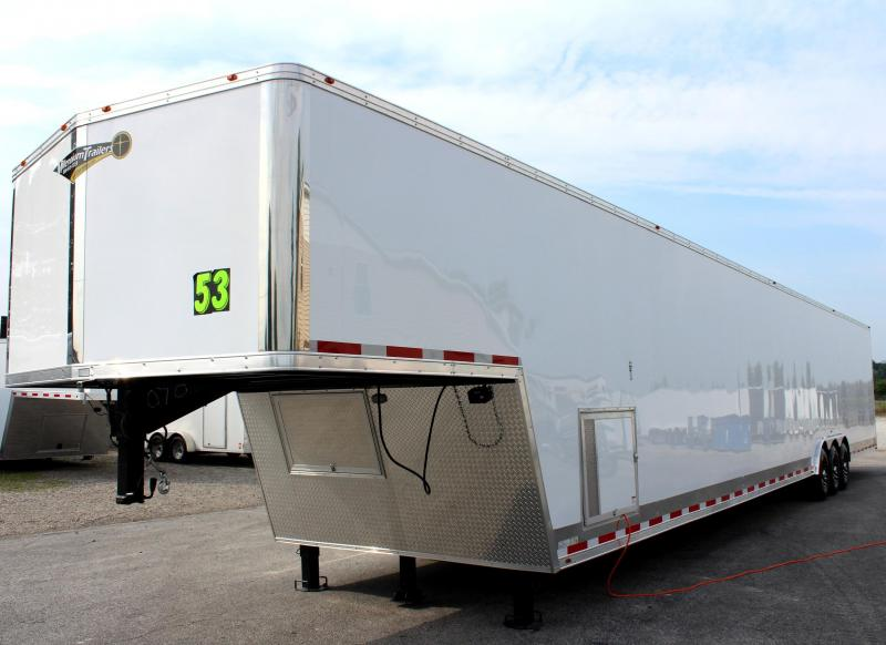 <b>TRAILER OF THE DAY #15 SAVE $6787 OFF MSRP NOW $36899</b> 2019 53' Millennium Silver Gooseneck Enclosed Trailer/ 90' Recessed E-Track Finished Int.