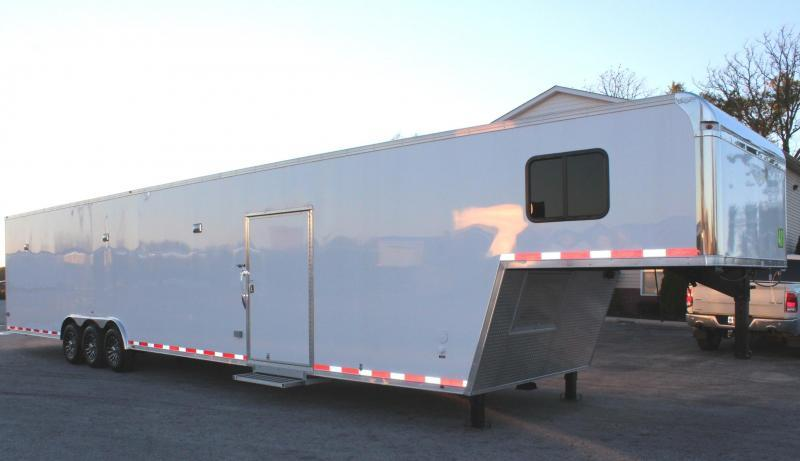FULL LARGE BATHROOM w/SHOWER 2019 48' Millennium Platinum Enclosed Gooseneck Trailer Perfect Price/Perfect Options