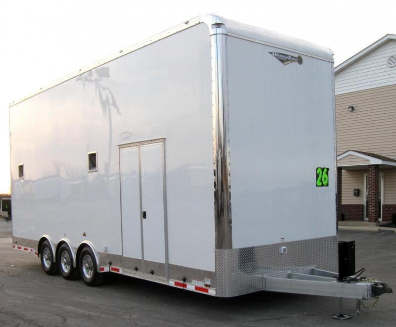 2019 26' All Aluminum Stacker Enclosed Race Car Trailer Tri Axle 13' Stinger Lift LOADED