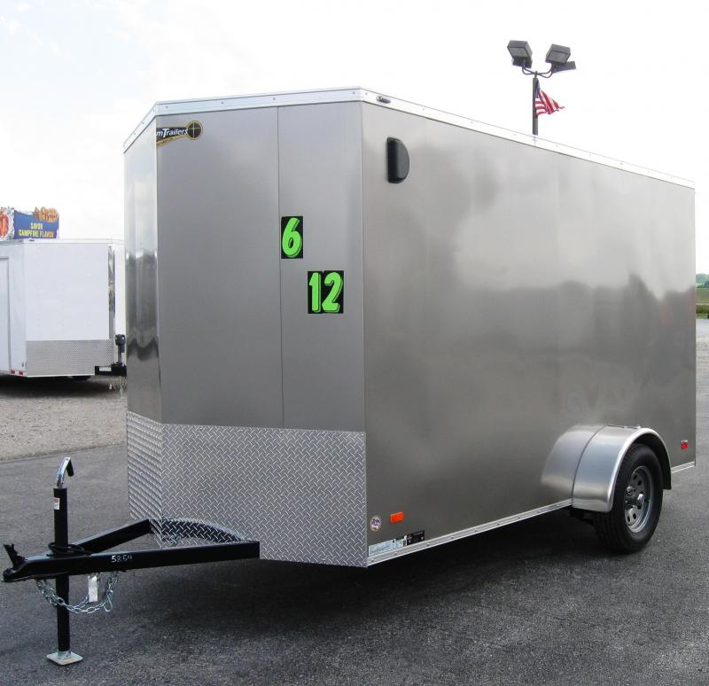 6'x12' Scout Pewter Metallic  Enclosed Cargo Trailer