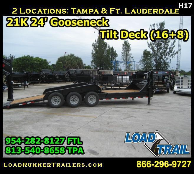 *H17* 7x24 21K TILT Gooseneck Equipment Trailer Hauler 7 x 24   TG83-16+8TT7T-GT