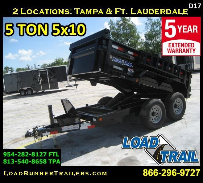*D17* 5x10 5 TON Load Trail Dump Trailer Tandem Axle 5 x 10 | D60-10T5-24S
