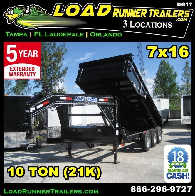 *DG17* 7x16 Triple Axle Gooseneck Dump Trailer |21K - 10 TON Trailers 7 x 16 | DG83-16TT7-24S