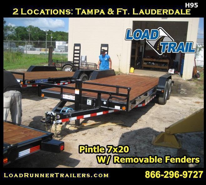 H95 | 7x20 7 TON Pintle Car Hauler w/ Removable Fenders | LR Trailers