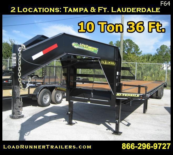 F64| 36' Gooseneck 10-Ton Low-Profile Dove Tail Trailer | LR Trailers | F64