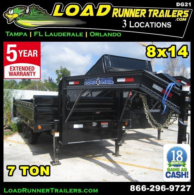 *DG21* 8x14 7 TON Dump Trailer Fold Down Sides|LR Trailers 8 x 14 | DG96-14T7-18S