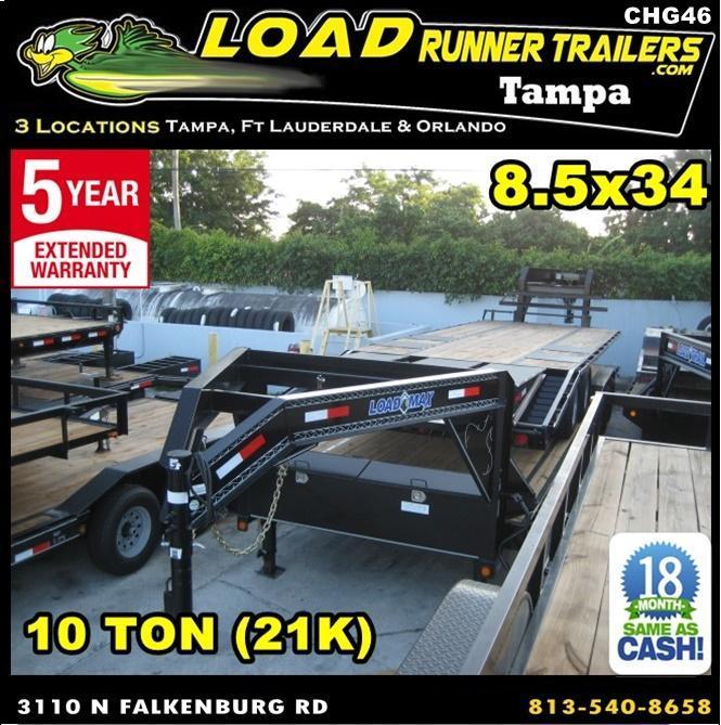 *CHG46* 8.5x34 10 TON Gooseneck Car Hauler Trailer |21K Trailers 8.5 x 34 | CHG102-34TT7-DOF