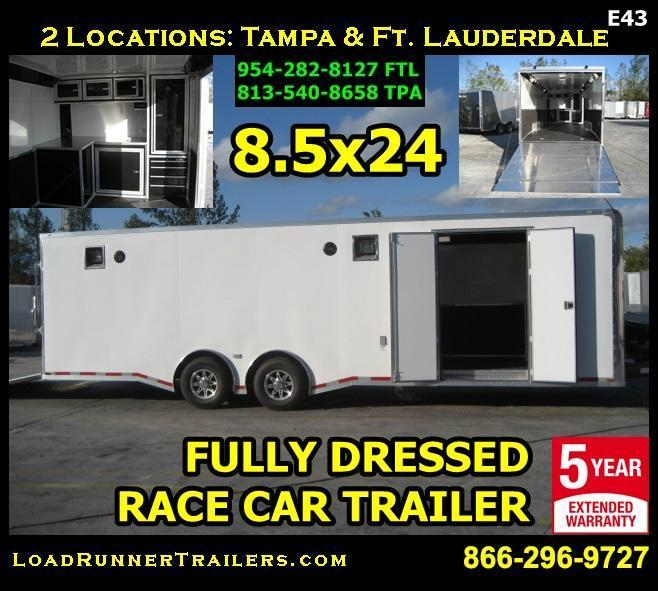 *E43* 8.5x28 RACE CAR TRAILER | Enclosed Cargo  Fully Dressed 8.5 x 28 | EF8.5-28T7T-R/RACE