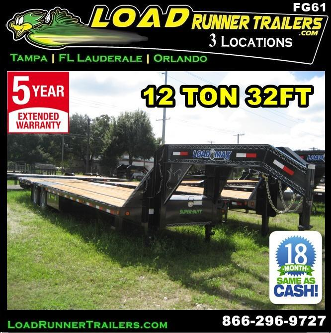 *FG61* 8.5x32 12 TON Flatbed Gooseneck Trailer |Hydraulic Dove Trailers 8.5 x 32 | FG102-32T12-HYD