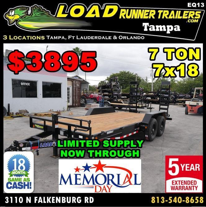 *EQ13* 7x18 7 TON Equipment & Car Hauler Trailer  LR Trailers 7 x 18   EQ83-18T7-KR
