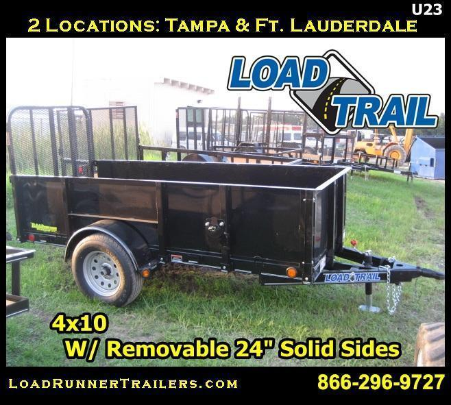 "U23| 4x10 Utility Trailer with 24"" Solid Removable Sides 