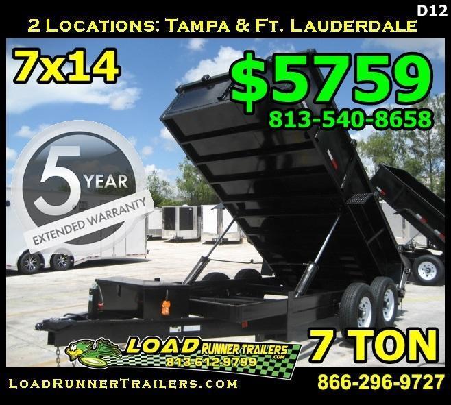*D12* 7x14 Twin Piston Dump Trailer 7 TON 7 x 14   D82-14T7-24S