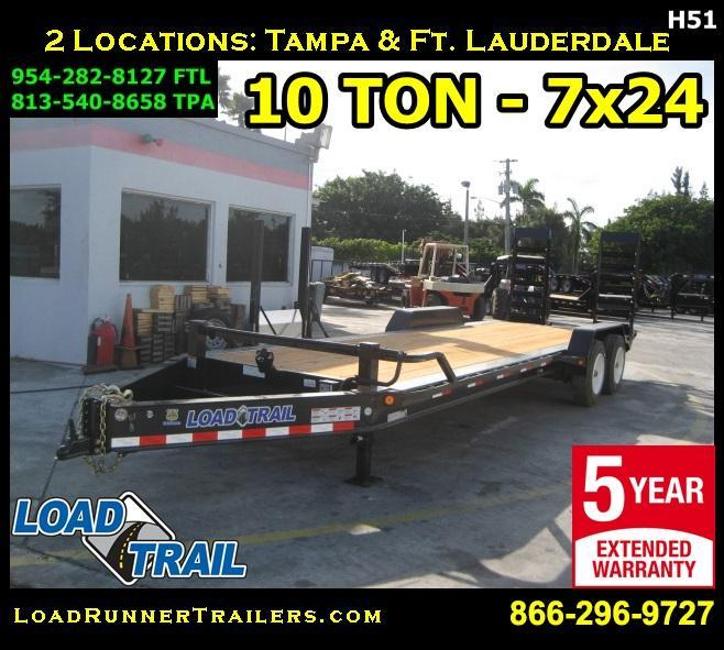*H51* 7x24 10 TON Equipment Hauler Tandem Axle Trailer 7 x 24 | EQ82-24T10T-KR
