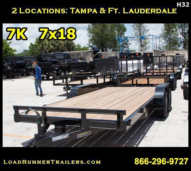 *H32* 7x18 Car Hauler Trailer Tandem 3500 lb Axles 7 x 18 | CH82-18T3-1B