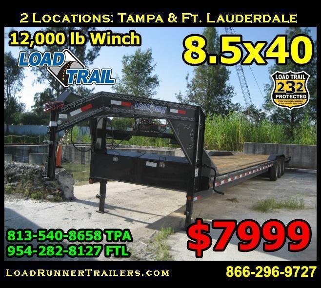 *H48* 8.5x40 Car Hauler Trailer Gooseneck Trailers 8.5 x 40 | CHG102-40TT7-DOF