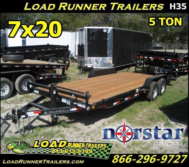 *H35* 7x20 Equipment Hauler Trailer 5 TON W/Kicker Ramps | EQ83-20T5-2B-WD | 7 x 20