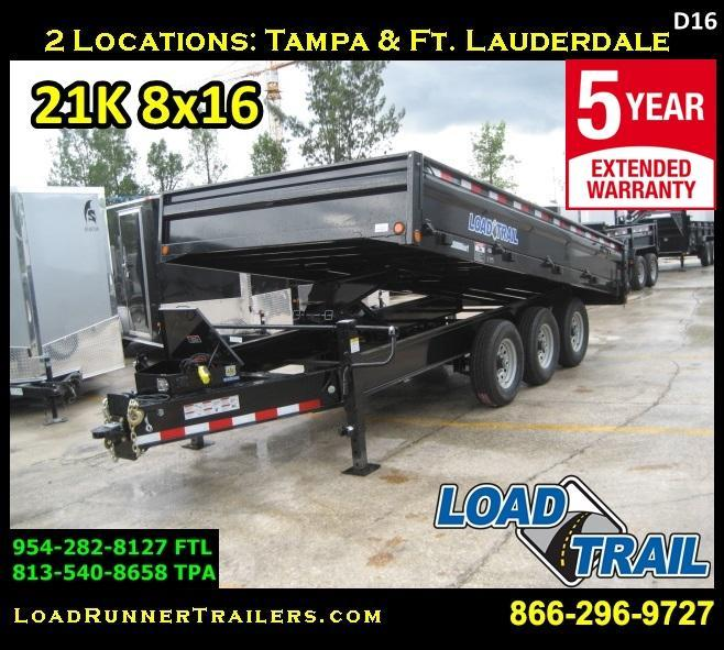 *D16* 8x16 Load Trail 21K Dump Trailer FOLD DOWN SIDES 8 x 16 | D96-16TT7-18S
