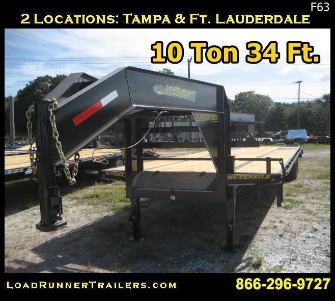 F63| 34' Gooseneck 10-Ton Low-Profile Dove Tail Trailer | LR Trailers | F63
