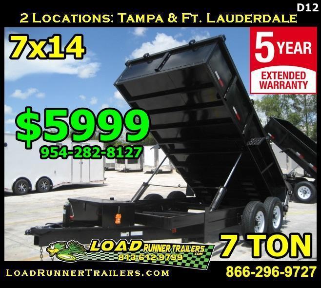 *D12B* 7x14 Twin Piston Dump Trailer 7 TON 7 x 14 | D82-14T7-24S